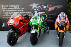Mugello - Italy, June 1: Show of all Nicky Hayden`s MotoGP and SBK Bikes in the Paddock during GP of Italy on June 1, 2017. Royalty Free Stock Photos