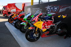 Mugello - Italy, June 1: Show of all Nicky Hayden`s MotoGP and SBK Bikes in the Paddock during GP of Italy on June 1, 2017. Royalty Free Stock Photography