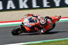 MUGELLO - ITALY, 1 JUNE 2018: Spanish Ducati Team rider Jorge Lorenzo during Qualifying session at 2018 GP of Italy of MotoGP. On June, 2018. Italy Royalty Free Stock Images