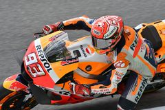 MUGELLO - ITALY, JUNE: Spanish Honda Repsol Team rider Marc Marquez during Qualifying session at 2018 GP of Italy of MotoGP. On June, 2018. Italy Royalty Free Stock Photography