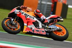 MUGELLO - ITALY, JUNE: Spanish Honda Repsol Team rider Marc Marquez during Qualifying session at 2018 GP of Italy of MotoGP. On June, 2018. Italy Royalty Free Stock Images