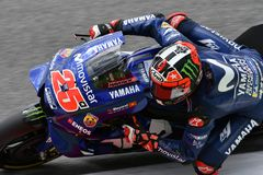 MUGELLO - ITALY, 2 JUNE: Spanish Yamaha Movistar Team rider Maverick Vinales during Qualifying session at 2018 GP of Italy. Of MotoGP on June, 2018. Italy Royalty Free Stock Images