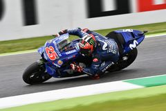 MUGELLO - ITALY, 2 JUNE: Spanish Yamaha Movistar Team rider Maverick Vinales during Qualifying session at 2018 GP of Italy. Of MotoGP on June, 2018. Italy Royalty Free Stock Photo
