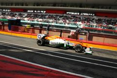 MUGELLO, ITALY - MAY 2012: Jules Bianchi of Force India F1 team races during Formula One Teams Test Days at Mugello Circuit on May royalty free stock photos