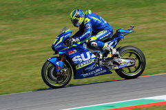 MUGELLO - ITALY, MAY 21: Spanish Suzuki rider Aleix Espargaro at 2016 TIM MotoGP of Italy at Mugello circuit Royalty Free Stock Photo