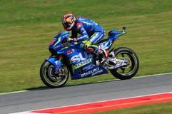 MUGELLO - ITALY, MAY 21: Spanish Suzuki rider Maverick Vinales at 2016 TIM MotoGP of Italy at Mugello circuit Royalty Free Stock Photo