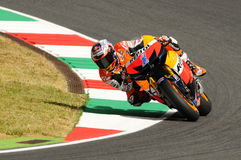 MUGELLO - JULY 13: Casey Stoner of Repsol Honda team races at Qualifying Session of Moto GP Grand Prix of Italy on July 13, 2012 Stock Photos