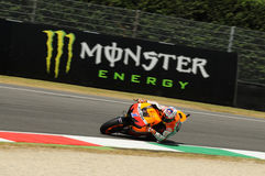MUGELLO - JULY 13: Casey Stoner of Repsol Honda team races at Qualifying Session of Moto GP Grand Prix of Italy on July 13, 2012 Royalty Free Stock Photography