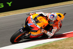 MUGELLO - JULY 13: Casey Stoner of Repsol Honda team races at Qualifying Session of Moto GP Grand Prix of Italy on July 13, 2012 Royalty Free Stock Image