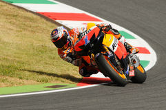MUGELLO - JULY 13: Casey Stoner of Repsol Honda team races at Qualifying Session of Moto GP Grand Prix of Italy on July 13, 2012. In Mugello Circuit, Italy Stock Photos