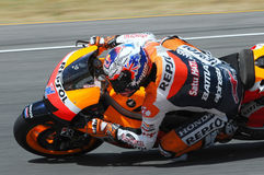 MUGELLO - JULY 13: Casey Stoner of Repsol Honda team races at Qualifying Session of Moto GP Grand Prix of Italy on July 13, 2012 Stock Images
