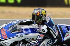 MUGELLO kring - 13 JULI: Jorge Lorenzo van Yamaha-Team tijdens Kwalificerende Zitting van MotoGP-Grand Prix van Italië Stock Fotografie