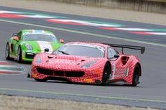 Mugello obwód Włochy, Lipiec, - 17, 2016: Ferrari 488 GT3 Łatwa rasy drużyna, jadących d Mancinelli i G Romanelli Zdjęcie Royalty Free