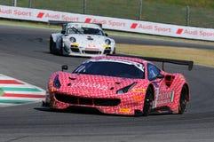 Mugello obwód Włochy, Lipiec, - 17, 2016: Ferrari 488 GT3 Łatwa rasy drużyna, jadących d Mancinelli i G Romanelli Zdjęcia Royalty Free
