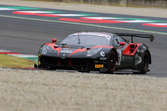 Mugello obwód Włochy, Lipiec, - 17, 2016: Ferrari 488 GT3 Blackbull Swisse drużyna, jadących Mirko Venturi i Stefano Gai Fotografia Stock