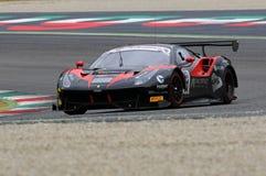Mugello obwód Włochy, Lipiec, - 17, 2016: Ferrari 488 GT3 Blackbull Swisse drużyna, jadących Mirko Venturi i Stefano Gai Obraz Stock