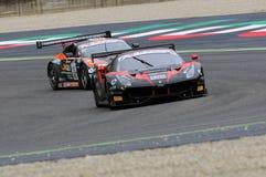 Mugello obwód Włochy, Lipiec, - 17, 2016: Ferrari 488 GT3 Blackbull Swisse drużyna, jadących Mirko Venturi i Stefano Gai Obrazy Stock