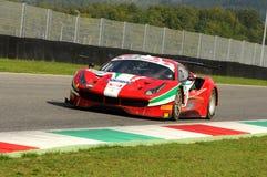 Mugello obwód, Włochy - 6 Październik, 2017: Ferrari 488 Scuderia AF CORSE jadący Ishikawa Motoaki Obraz Stock