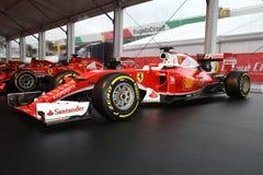 MUGELLO, IT, Październik, 2017: Ferrari F1 SF15T 2015 przy padoku przedstawieniem Ferrari rocznica 1947-2017 w Mugello obwodzie p Fotografia Royalty Free