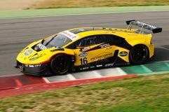 Mugello-Stromkreis, Italien - 6. Oktober 2017: Lamborghini Huracan von Petri Corse Motorsport Team gefahren durch Baruch Bar - Ma Lizenzfreie Stockfotos
