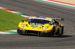 Mugello-Stromkreis, Italien - 6. Oktober 2017: Lamborghini Huracan von Petri Corse Motorsport Team gefahren durch Baruch Bar - Ma Lizenzfreies Stockfoto