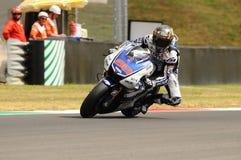 MUGELLO-Stromkreis - 13. Juli: Jorge Lorenzo von Yamaha-Team während der qualifizierenden Sitzung von MotoGP Grandprix von Italie Lizenzfreie Stockfotos