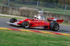 MUGELLO, a TI, em novembro de 2007: O desconhecido corre com Ferrari histórico F1 312T Niki Lauda ex durante Finali Mondiali Ferr Imagens de Stock Royalty Free