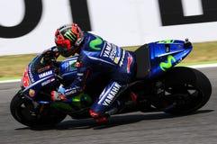 MUGELLO - WŁOCHY, CZERWIEC 3: Hiszpańszczyzny Yamaha jeźdza indywidualista Vinales podczas kwalifikować 2017 MotoGP OAKLEY GP Wło zdjęcia stock