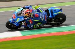 MUGELLO - WŁOCHY, MAJ 21: Hiszpańszczyzny Suzuki jeźdza indywidualista Vinales przy 2016 TIM MotoGP Włochy przy Mugello obwodem Fotografia Stock
