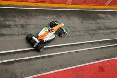 MUGELLO WŁOCHY, MAJ, - 2012: Jules Bianchi siły India F1 drużyny rasy podczas formuła jeden drużyn Bada dni przy Mugello obwodem  obraz stock