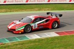 Mugellokring, Italië - 6 Oktober, 2017: Ferrari 488 van Scuderia AF CORSE door Ishikawa Motoaki wordt gedreven die Stock Foto's