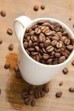 Mugg des grains de café Images libres de droits