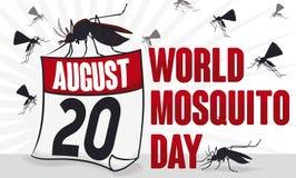 Muggenzwerm en Losbladige Kalender voor de Dag van de Wereldmug, Vectorillustratie Stock Foto's
