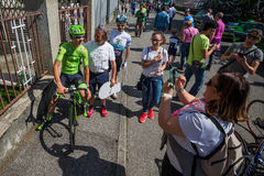Muggiò, Italy May 26, 2016; Davide Formolo, team Cannondale,  meet the fans before the start of  the stage Stock Image