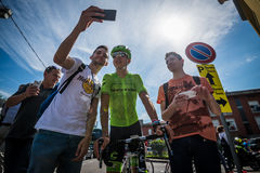 Muggiò, Italy May 26, 2016; Davide Formolo, team Cannondale,  meet the fans before the start of  the stage Royalty Free Stock Image
