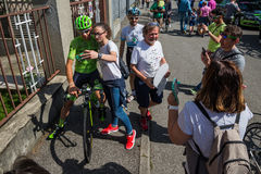 Muggiò, Italy May 26, 2016; Davide Formolo, team Cannondale,  meet the fans before the start of  the stage Stock Images