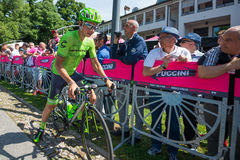 Muggiò, Italy May 26, 2016; Davide Formolo, team Cannondale,  meet the fans before the start of  the stage Royalty Free Stock Images