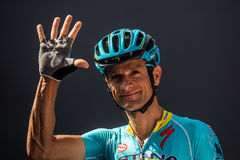 Muggiò, Italy May 26, 2016; Michele Scarponi, team Astana, to the podium signatures before the start of  the stage Royalty Free Stock Images