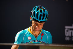 Muggiò, Italy May 26, 2016; Michele Scarponi, team Astana, to the podium signatures before the start of  the stage Royalty Free Stock Photography