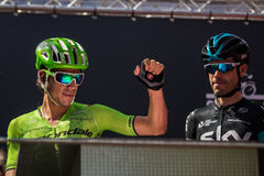 Muggiò, Italy May 26, 2016; Rigoberto Uran, team Cannondale, to the podium signatures before the start of  the stage Stock Photography