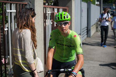 Muggiò, Italy May 26, 2016; Davide Formolo, team Cannondale,  meet his girlfriend before the start of  the stage Stock Images