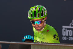 Muggiò, Italy May 26, 2016; Moreno Moser, team Cannondale, to the podium signatures before the start of  the stage Royalty Free Stock Image