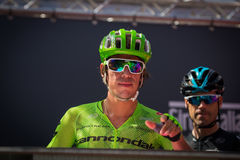 Muggiò, Italy May 26, 2016; Rigoberto Uran, team Cannondale, to the podium signatures before the start of  the stage Royalty Free Stock Photo