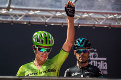Muggiò, Italy May 26, 2016; Rigoberto Uran, team Cannondale, to the podium signatures before the start of  the stage Stock Image