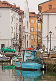 Muggia, Italy - View of the wharf in the port called Mandracchio Royalty Free Stock Photos