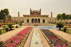 Mughal art and gardens , Lahore, Pakistan. The Badshahi Mosque or the Royal Mosque in Lahore. Commissioned by the sixth Mughal Emperor Aurangzeb in 1671 and Royalty Free Stock Photo