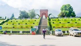 Mughal gardens or Nishat Bagh garden Srinagar, Jammu and Kashmir, India January 2019 - View of Nishat Bagh garden entrance one royalty free stock photo