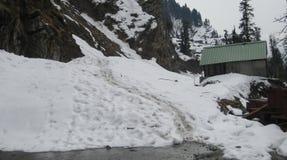 Mughal Road after snowfall in Peer Panchal Royalty Free Stock Image