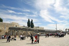 Mughrabi Bridge to the Temple Mount in Jerusalem Royalty Free Stock Images