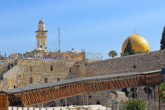 Mughrabi Bridge from the Wailing Wall to the Temple Mount  in Jerusalem Stock Photos